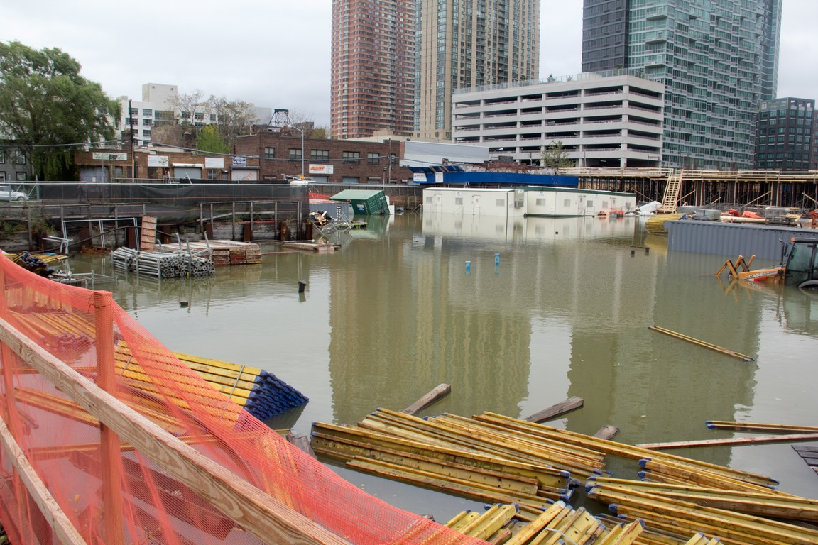 Construction site flooded in LIC after hurricane Sandy