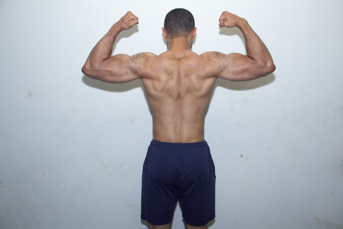 rear double bicep flex after the gym