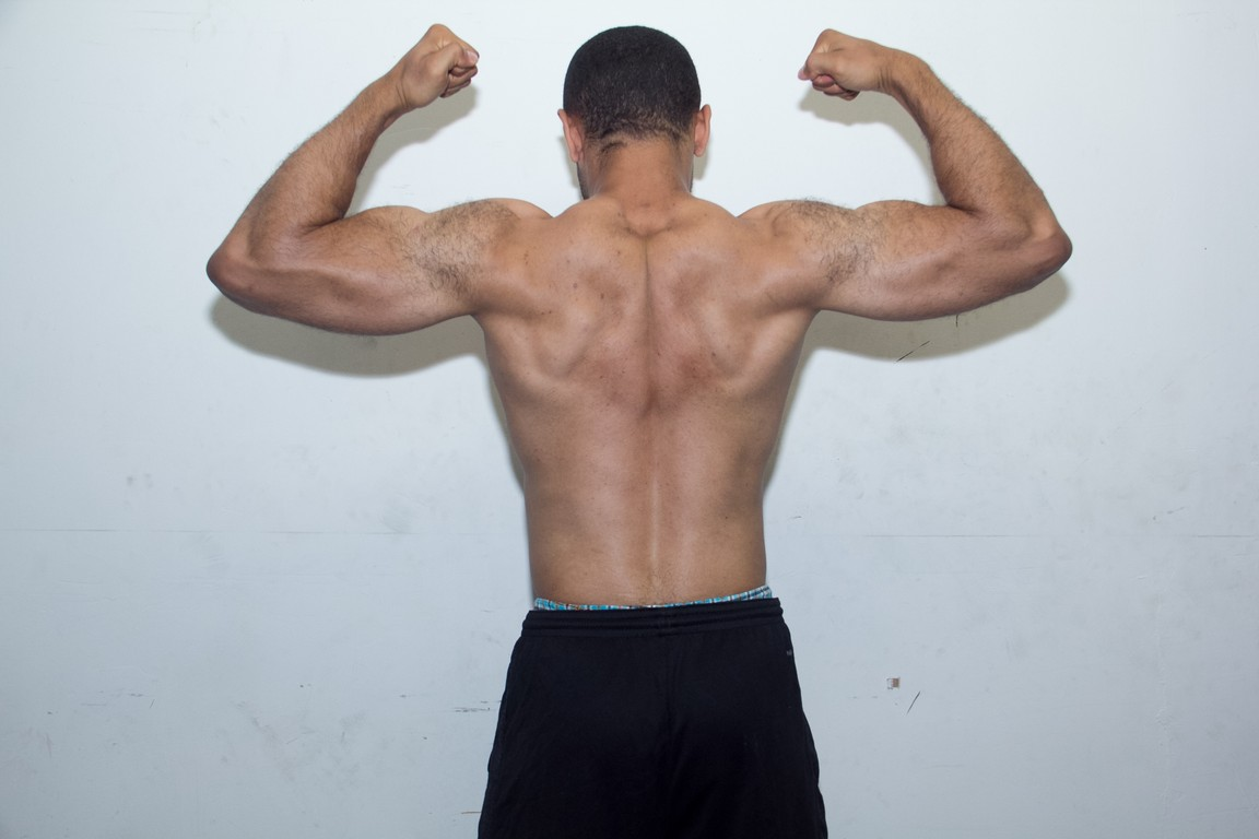 rear double bicep flex after 7 months of working out