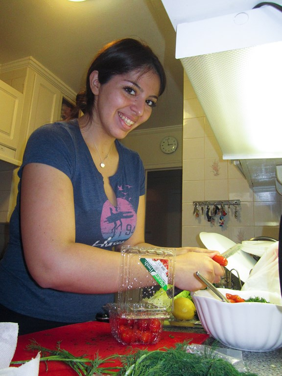 Tania making a salad