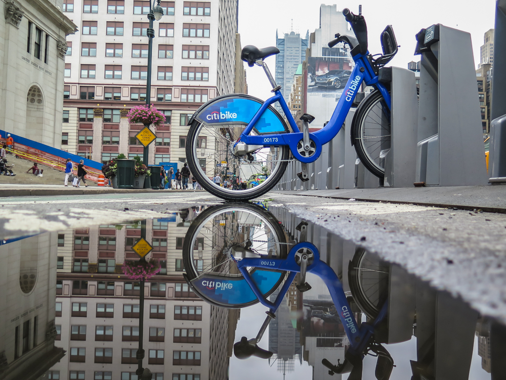 CITI bike at James A Farley Post office Puddle