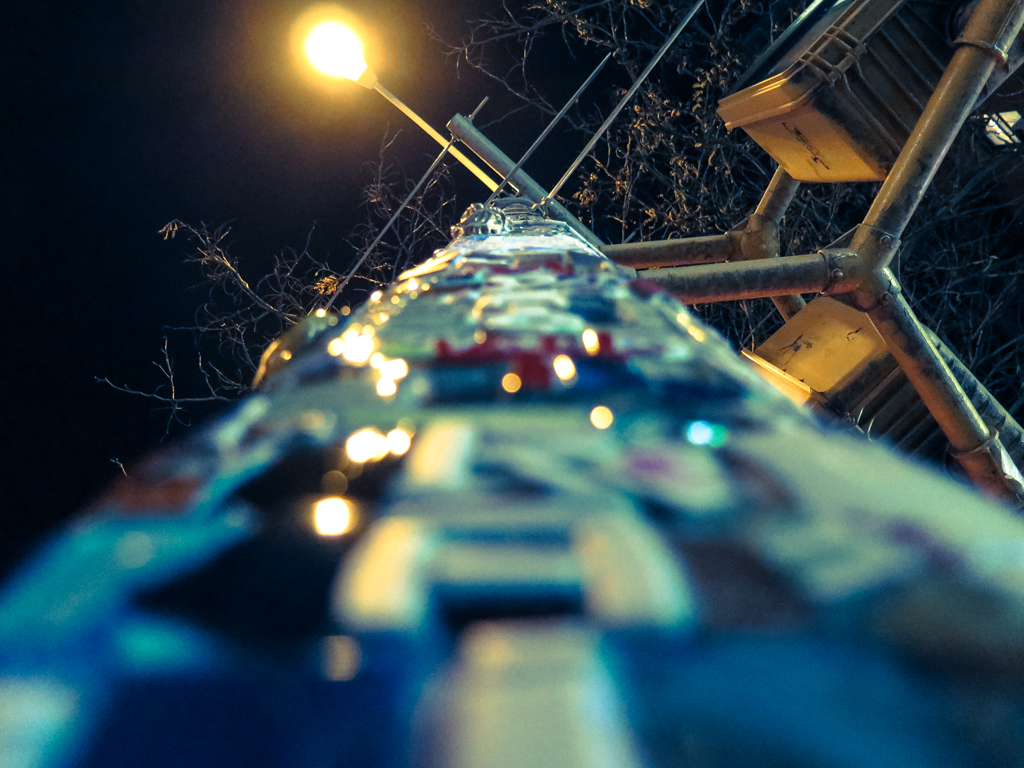 Looking up a streetlight